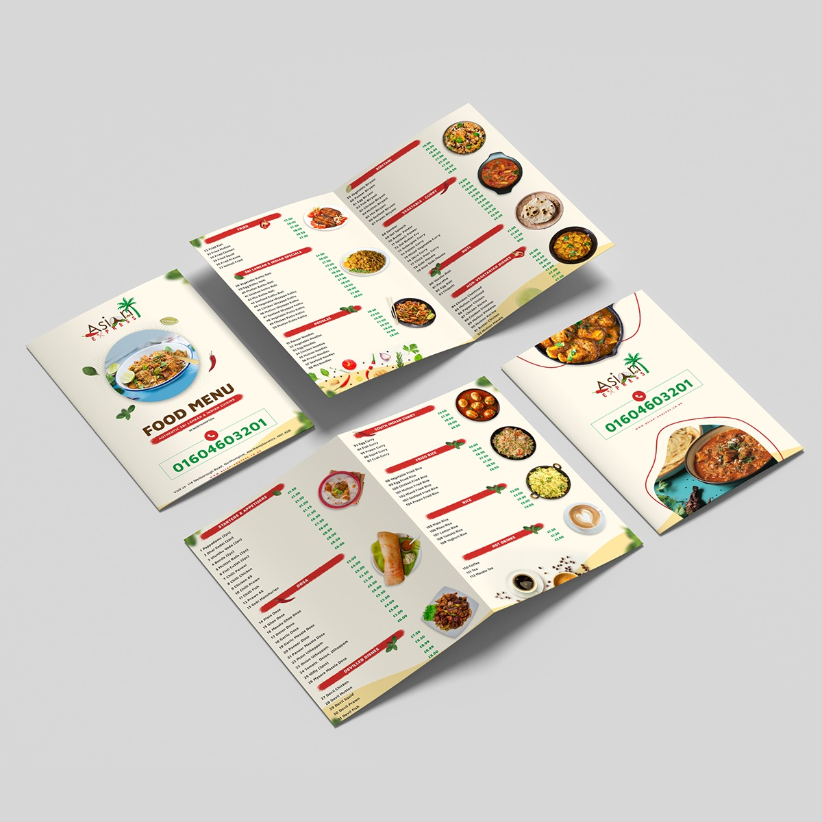 Food Menu Branding Design for Asian Express Restaurant