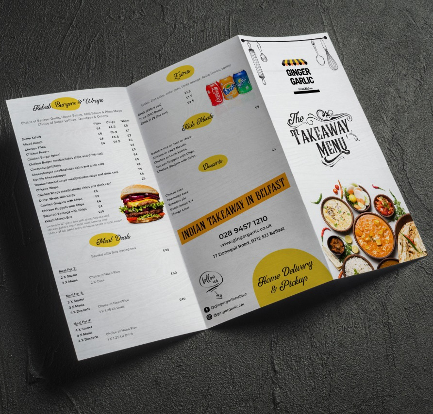 Restaurant Takeaway Menu Design for Ginger Garlic
