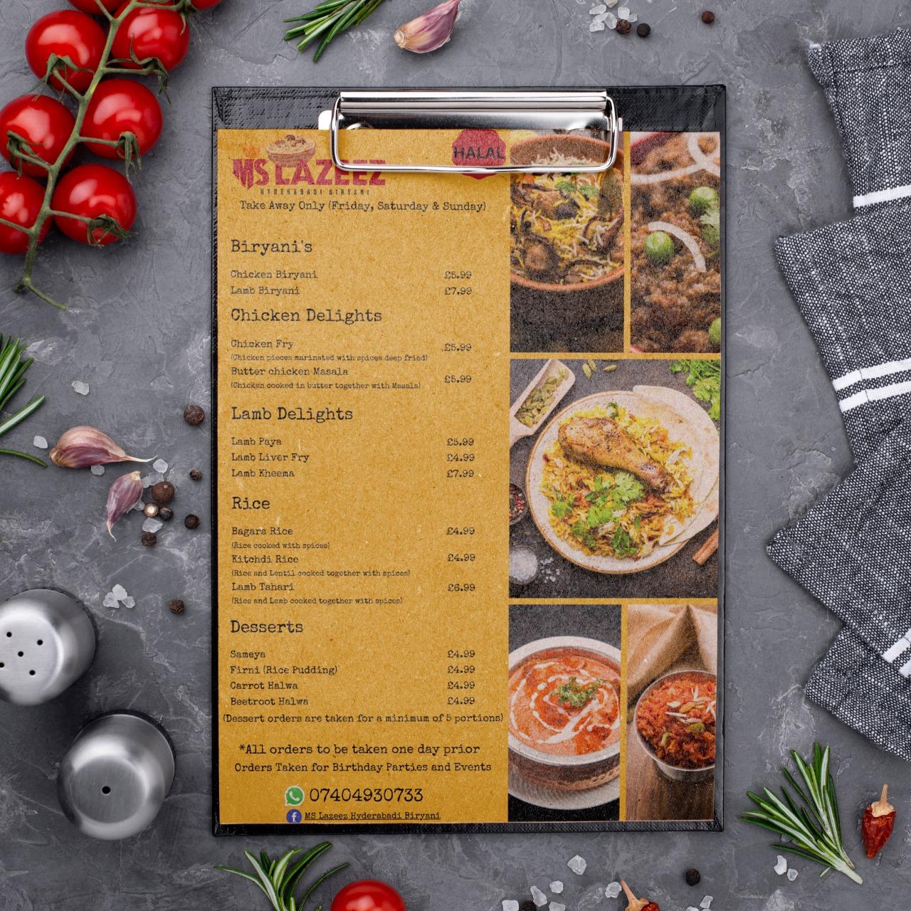 Takeaway Menu Design for MS Lazeez Hyderbadi Biryani in Northampton