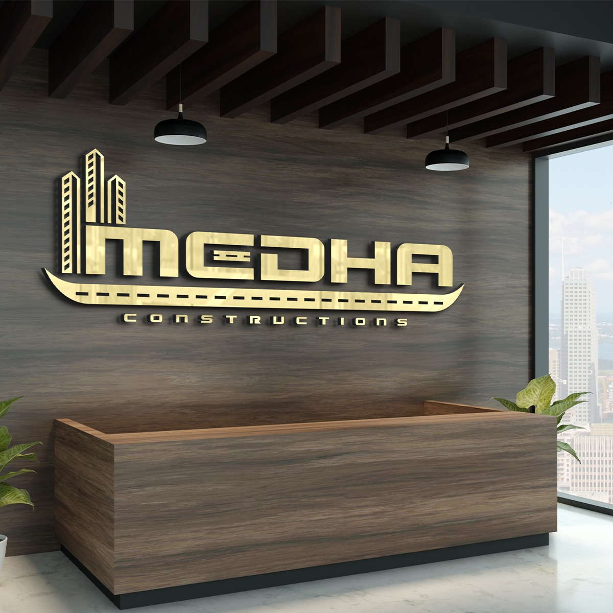 Medha construction logo design